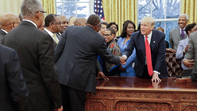 President Trump meets with leaders of Historically Black Colleges and Universities in the Oval Office on Feb. 27.