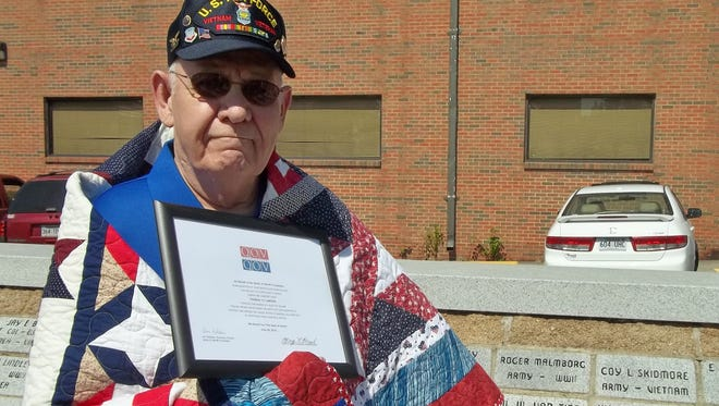 """Thomas """"T.J."""" Lawson was recently awarded a Quilt of Valor by the Mountain Home Quilts of Valor at the Veteran's Plaza across from the square in Mountain Home. Lawson is a retired Air Force veteran, having served in many locations, including Vietnam."""