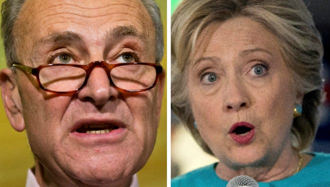Sen. Chuck Schumer, D-N.Y., left, and Democratic presidential candidate Hillary Clinton