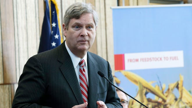 Agriculture Secretary Tom Vilsack speaks at the DuPont Beaver Creek research facility in Iowa in 2013.
