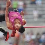 Licking Heights senior Curtis Richardson competes in the high jump during the 2015 Division I state meet at Ohio State's Jesse Owens Memorial Stadium. Richardson cleared 6-feet-9 to earn a state runner-up finish.