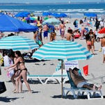 Spring break crowds pack Cocoa Beach in Florida.