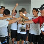 Satellite High tennis team celebrates their 7th year winning  the Mike Cherry High School Skills competition held Sunday afternoon at the Kiwi Tennis Club in Indian Harbour Beach.