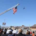 The Care Flight helicopter does a flyover at the Main Street fire station in Fernley. Care Flight is expanding its hours of service of the emergency medical helicopter based at Banner Churchill Community Hospital in Fallon to 24 hours a day, seven days a week.