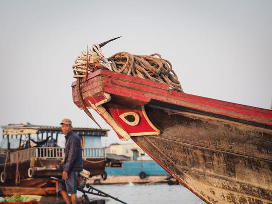 A fishing boat in the Mekong Delta.