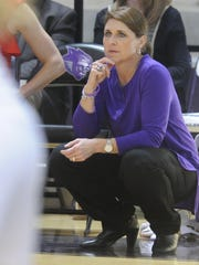 ACU coach Julie Goodenough watches as her Wildcats play Stephen F. Austin on Wednesday, Feb. 28, 2018 at Moody Coliseum. SFA won 78-52.