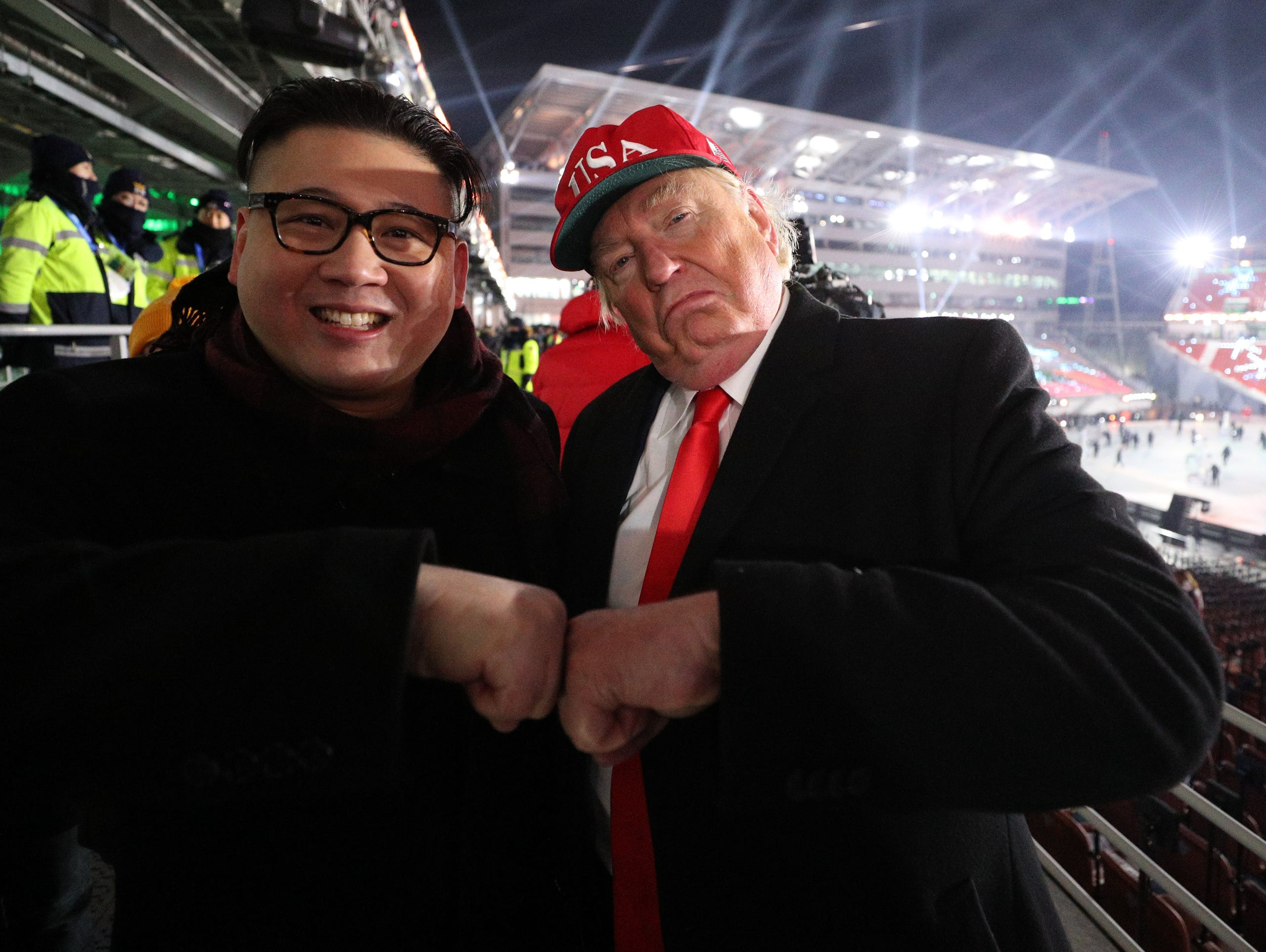 A Kim Jon Un impersonator and a Donald Trump impersonator