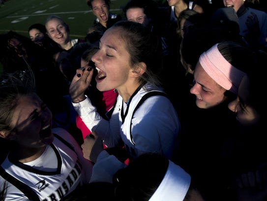 Bishop Eustace players celebrate their win over Oak