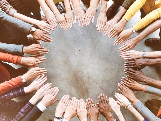 Diverse People Friendship Togetherness Connection Aerial View Co