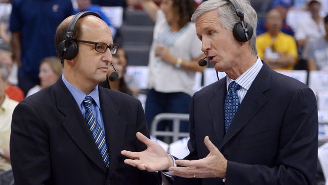 ESPN broadcasters Jeff Van Gundy (left) and Mike Breen (right) during game four of the second round of the 2014 NBA Playoffs between the Oklahoma City Thunder and the Los Angeles Clippers at Staples Center.