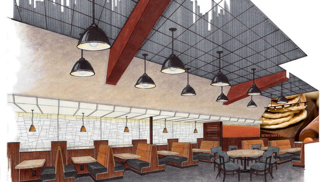 A rendering of the future interior for Olga's Kitchen restaurants.