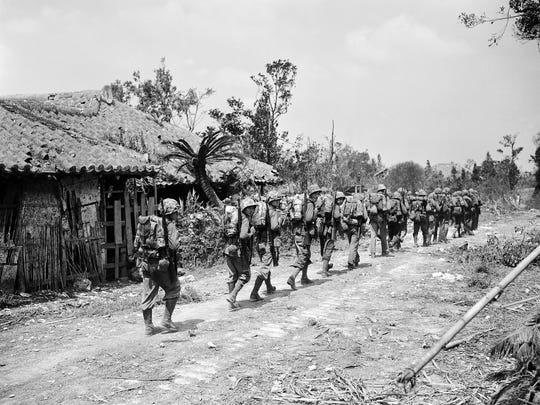 U.S. Marines move up on Okinawa.