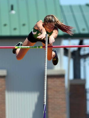 Margaretta's Kassidie Stimmel clears the bar in the pole vault Friday, June 2, 2017, at the state track and field championship at Jesse Owens Stadium in Columbus.