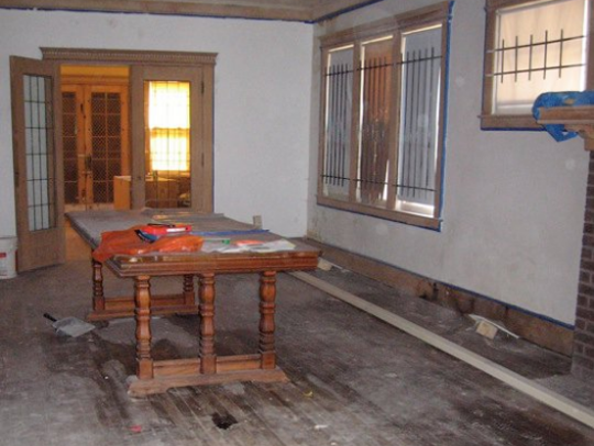 A portion of Higgins's and Mack's living room with