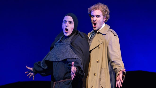 """Brad York as Igor and Kurtis W. Overby as Dr. Frankenstein in the Arizona Broadway Theatre production of """"Young Frankenstein."""""""