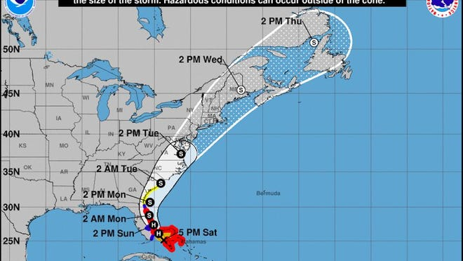 This National Weather Service map issued on Aug. 1 at 5 p.m. forecasts the Hurricane Isaias track to primarily impact the Savannah area on Monday.