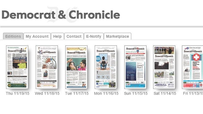 Part of the new interface for the D&C's e-newspaper.