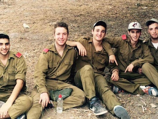 Ezra Schwartz in the middle with (from left) Philip Frier, Aryeh Sunshine, Adam Kingston and Joshua Melamed in Israel.
