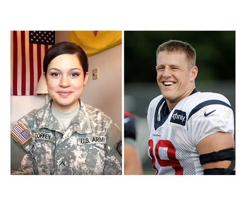 Pvt. Camille Coffey, left, and Houston Texans defensive end J.J. Watt.
