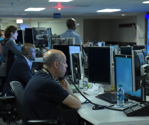 Secretary of Homeland Security Jeh Johnson spends a day at the National Cybersecurity and Communications Integration Center (NCCIC) for a hands-on look at how DHS protects cyberspace in Arlington, Virginia, March 11, 2016.