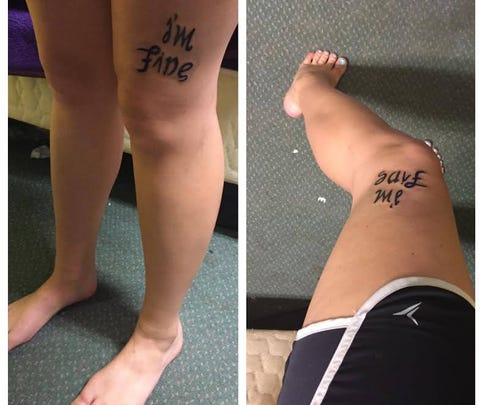 "Miles' tattoo reads ""I'm fine,"" but from her point of view it says, ""save me."""