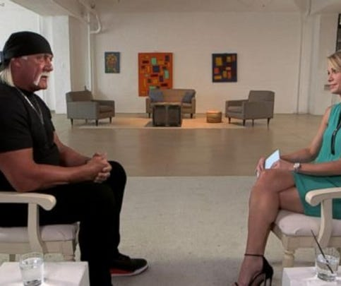 """In an exclusive interview with ABC News' Amy Robach that aired Monday on """"Good Morning America,"""" a contrite and emotional Hogan talked about the circumstances surrounding his use of the n-word. He steadfastly denied being a racist and begged his fans for forgiveness."""