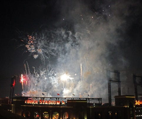Fireworks were set off at Busch Stadium after Friday night's Cardinals game against the San Diego Padres.