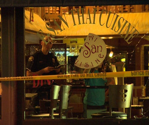 The suspect crashed into E-San Thai Cuisine.