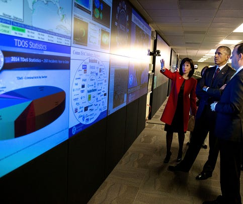 President Barack Obama tours the National Cybersecurity and Communications Integration Center in Arlington, Va., Jan. 13, 2015. He is accompanied by Dr. Phyllis Schneck, Deputy Under Secretary for Cybersecurity & Communications, and Brig. Gen. Greg Touhill, (Ret.), Deputy Assistant Secretary for Cybersecurity Operations and Programs.