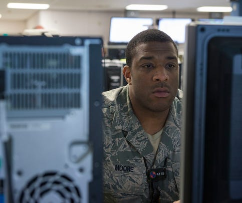 SUFFOLK, Va. (June 16,2016)  A participant at Cyber Guard 2016 works through a training scenario during the nine-day exercise Suffolk, Va., June 16, 2016.