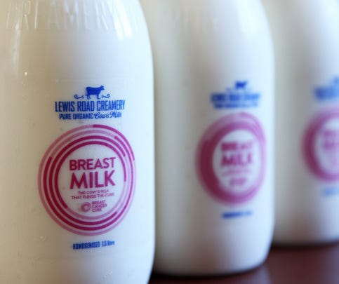 In this photo illustration, bottles of the red label Lewis Road Creamery 1.5 litre milk are seen on June 10, 2015 in Auckland, New Zealand.