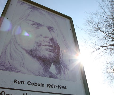 A sign in Kurt Cobain Park in Aberdeen, Washington on April 1, 2014. The park where Cobain used to hang out and write songs has become a symbol for fans as it was a gathering place after the news of his death spread. Nirvana fans prepare to mark the 20th anniversary of the iconic frontmans suicide on April 5.  AFP PHOTO / Sébastien VUAGNAT        (Photo credit should read Sebastian VUAGNAT/AFP/Getty Images)