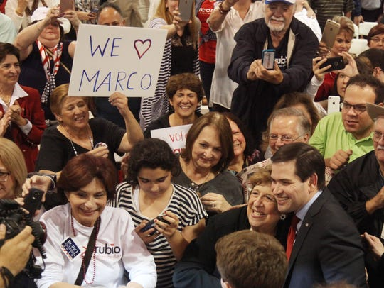 Sen. Marco Rubio and his supporters gather during his