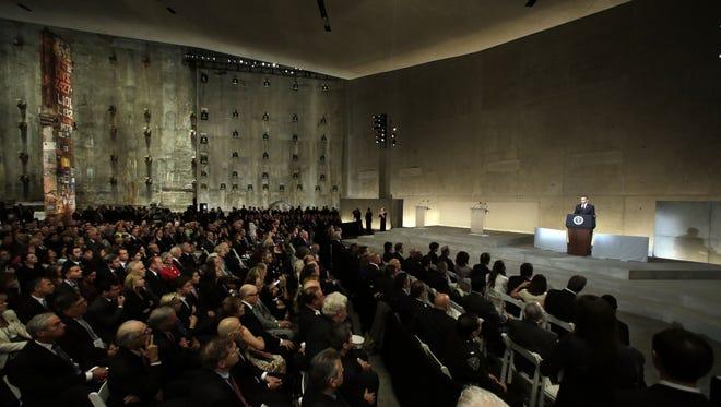 President Barack Obama speaks at the dedication ceremony for the National September 11 Memorial Museum on Thursday, May 15, 2014 in New York. (AP Photo/Richard Drew, Pool)