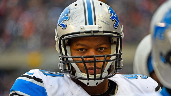 Detroit Lions defensive tackle Ndamukong Suh (90) during the second half at Soldier Field.