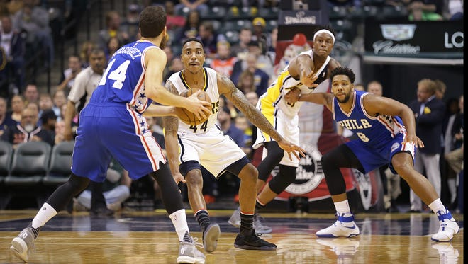 Indiana Pacers guard Jeff Teague (44) defends Philadelphia 76ers guard Sergio Rodriguez (14) in the first half of their game Wednesday, November 9, 2016, evening at Bankers Life Fieldhouse.