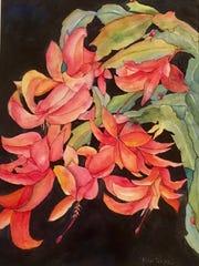 Christmas Cactus, watercolor by Rita Poore.