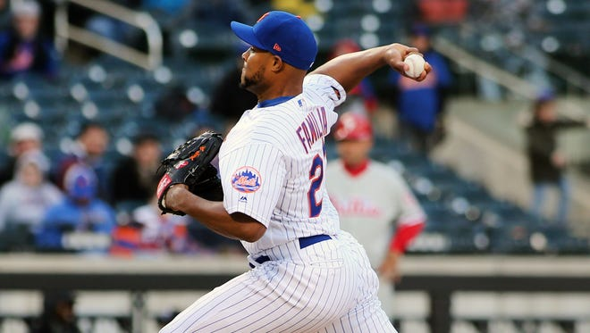 New York Mets pitcher  Jeurys Familia (27) pitches against the Philadelphia Phillies during the ninth inning at Citi Field.
