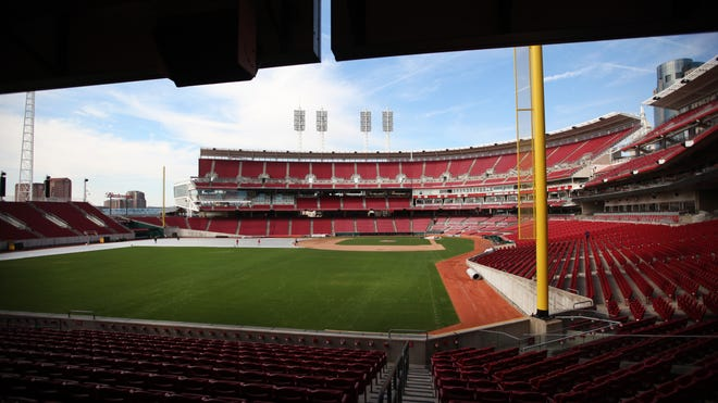 Reds Opening Day at Great American Ballpark is Monday, and the forecast is predicting temperatures in the upper 60s and lower 70s.