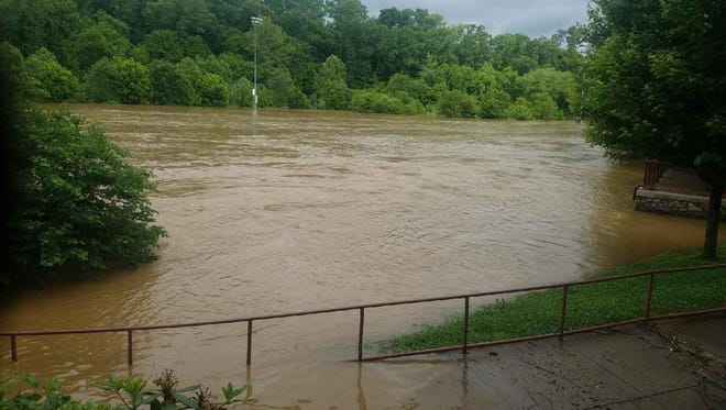 Asheville's John B. Lewis Soccer Complex was flooded by the Swannanoa River Wednesday.