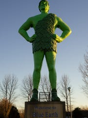 Jolly Green Giant at sunset in Blue Earth.