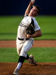 Caravel's Brandon Fraley delivers a pitch during St. Mark's 5-4 win over Caravel in the DIAA State Baseball Championship game at Frawley Stadium in Wilmington on Tuesday evening.