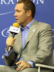 LPGA Tour commissioner Mike Whan talks about the state of the tour and women's golf on Tuesday during a news conference at the ANA Inspiration held at Mission Hills Country Club in Rancho Mirage.