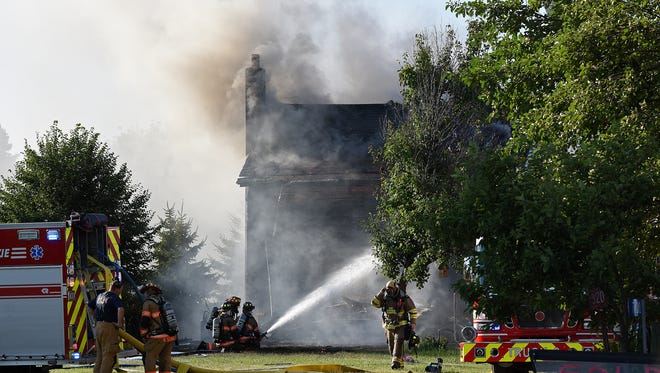 Crews respond to structure fire at 5721 E. 41 St. in Split Rock, S.D., Sunday, July 3, 2016.