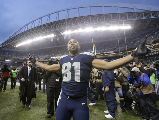 Seattle Seahawks wide receiver Golden Tate celebrates
