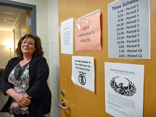 Shelly Green, chemical health counselor, pauses near