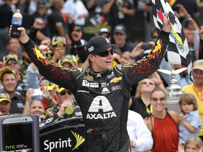 Jeff Gordon wins his 5th Brickyard 400 race at the Indianapolis Motor Speedway Sunday, July 27, 2014