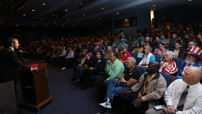 U.S. Rep. Beto O'Rourke, D-El Paso, speaks to hundreds Saturday at El Paso Community College's Transmountain Campus about efforts to protect Castner Range.