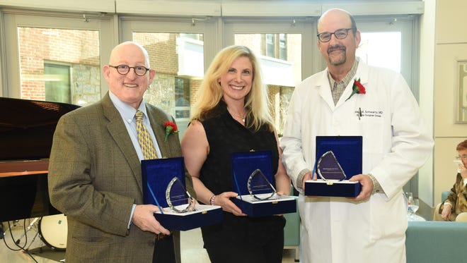 From left: Artistic Achievement Award winners Harry Agress, Jr., M.D., Laurie Glasser, M.D., and Mark Schwartz, M.D. All three physicians are affiliated with Hackensack Meridian Health hospitals.