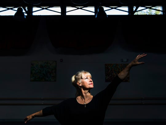 Susan Gregory, 56, after teaching a ballet fitness class at Naples Academy of Ballet on Tuesday, Feb. 7, 2017. Gregory trained at the Royal Ballet School in London and worked as a professional dancer until she was 40 years old.